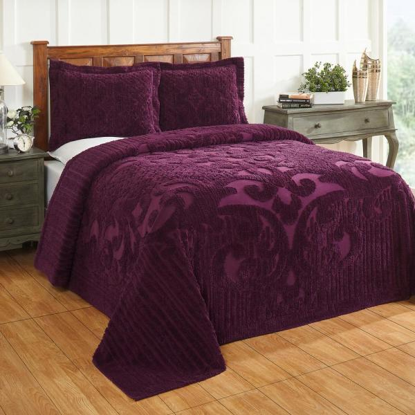Ashton Collection in Medallion Design Plum King 100% Cotton Tufted Chenille Bedspread