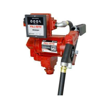 FILL-RITE 230-Volt 3/4 HP 35 GPM Fuel Transfer Pump with Discharge Hose, Automatic Nozzle and Mechanical Meter