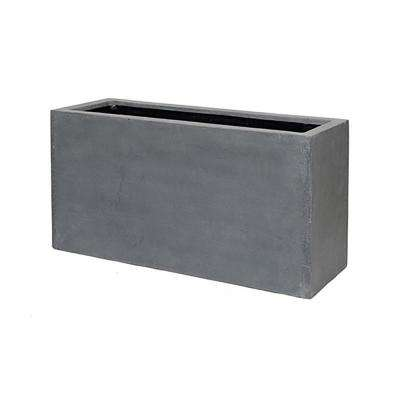 16 in. x 20 in. Matte Grey Fiberstone Rectangular Planter