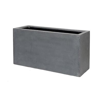 16 in. x 20 in. Matte Gray Fiberstone Rectangular Planter