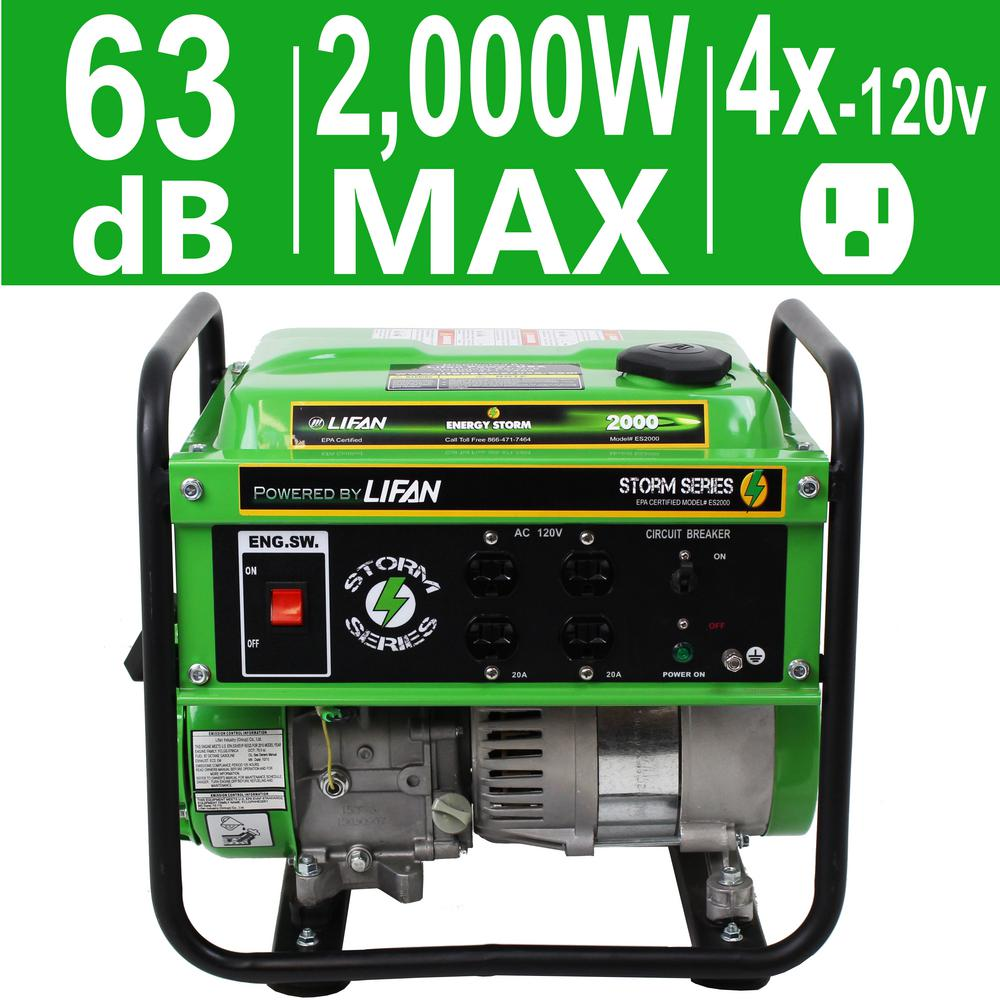 Energy Storm 1600-Watt Gasoline Powered 98cc 3 MHP Portable Generator