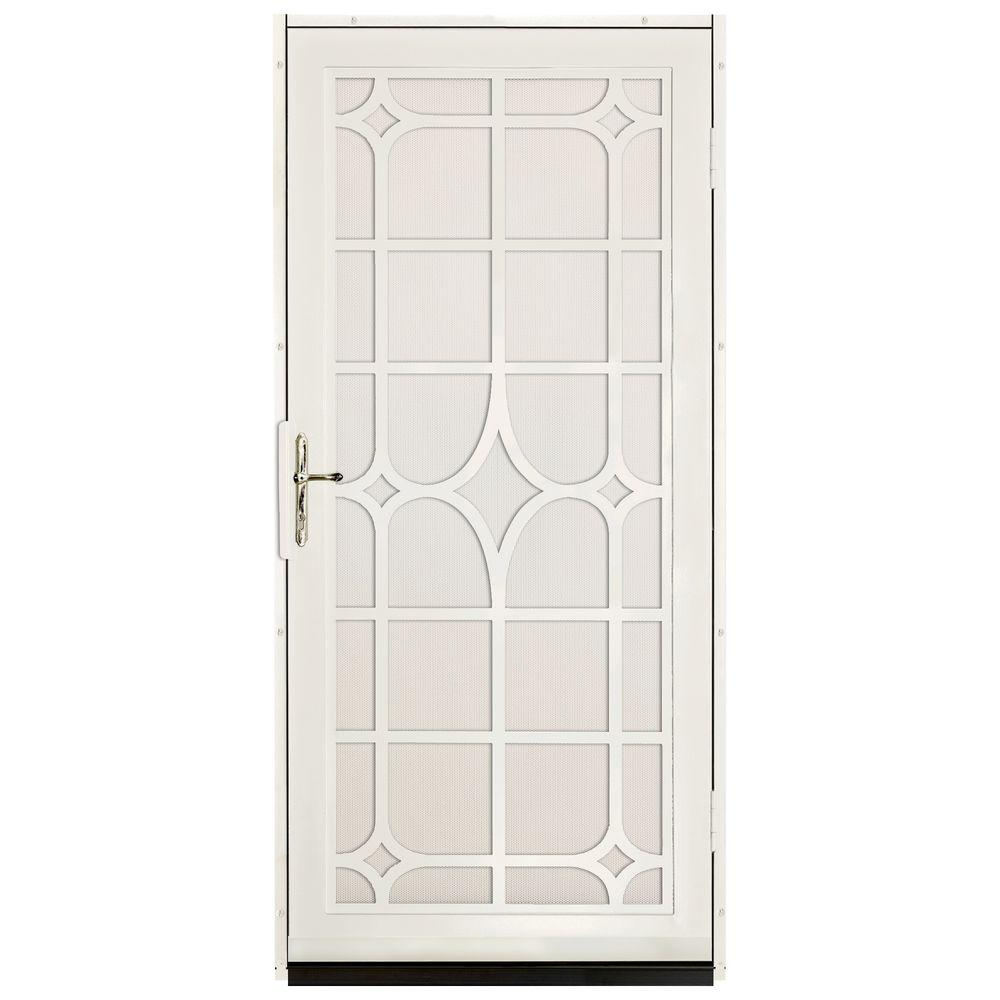 Unique Home Designs 36 in. x 80 in. Lexington Almond Surface Mount Steel Security Door with Almond Perforated Screen and Brass Hardware