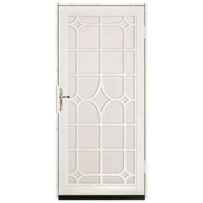 Lexington Outswing Security Door with Perforated Screen and Satin Nickel Hardware