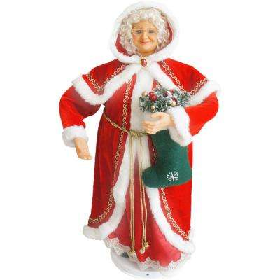 36 in. Dancing Mrs. Claus with Hooded Cloak and Stocking