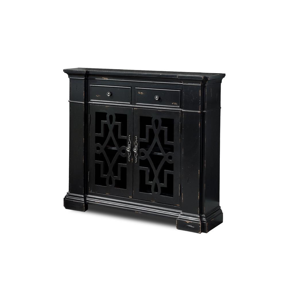 Dany Vintage 2-Door Antique Black Accent Cabinet