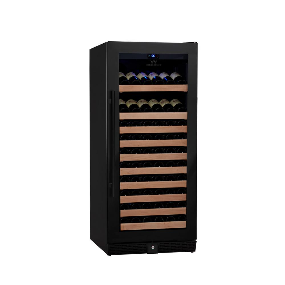 Single Zone 23.42 in. 98-Bottle Wine Cooler in Black