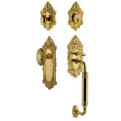 Victorian Plate 2-3/8 in. Backset Lifetime Brass C Grip Keyed Entry Handleset with Victorian Knob