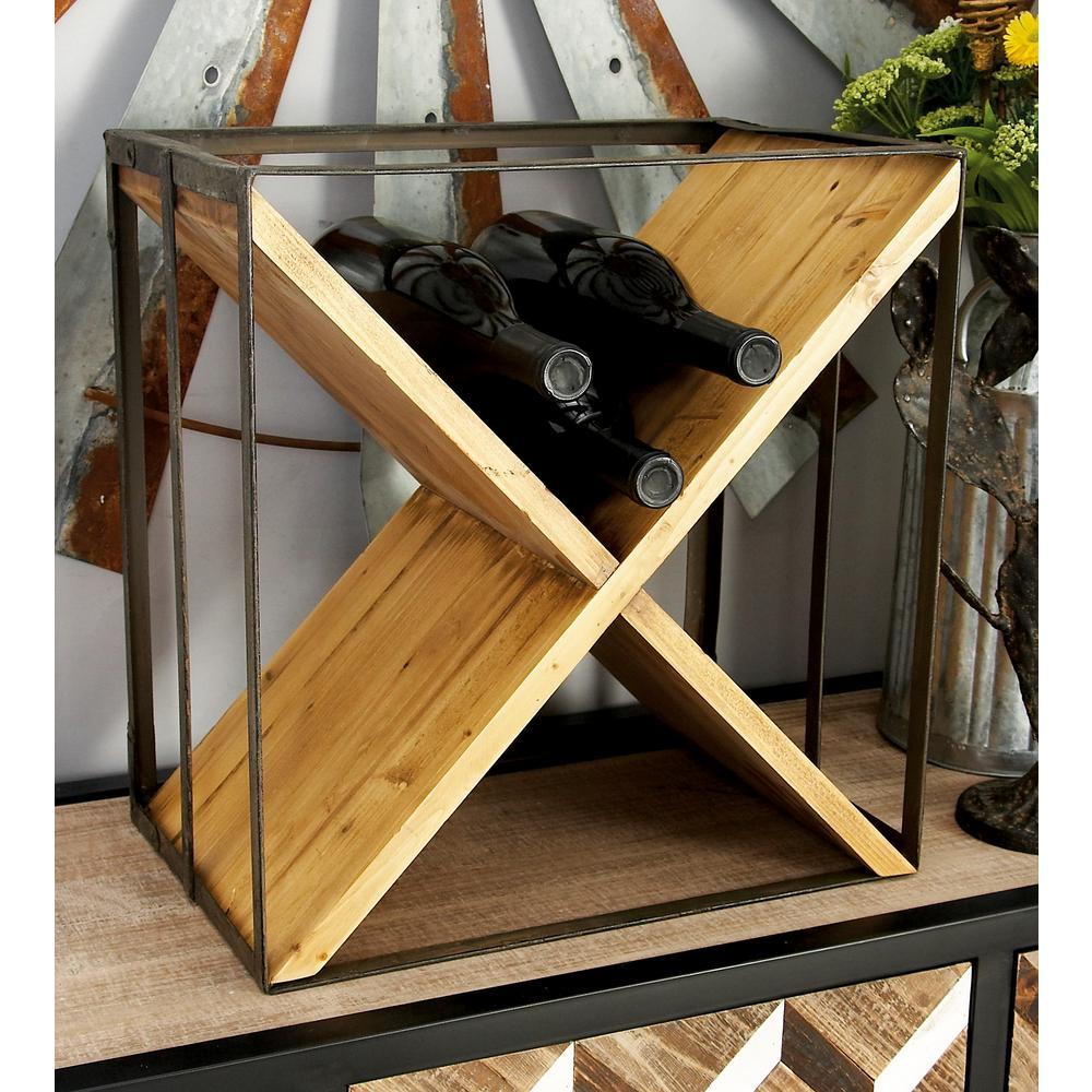 15 in. W x 16 in. H Iron Black and Cedar Brown Rectangular X-Frame 9-Bottle Wine Rack