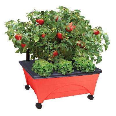 24.5 in. x 20.5 in. Patio Raised Garden Bed Kit with Watering System and Casters in Tomato Red