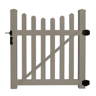 Helena 4 ft. W x 4 ft. H Khaki Vinyl Picket Fence Gate EZ Pack