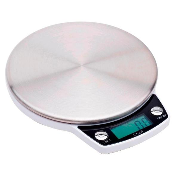Precision Pro White Stainless Steel Digital Kitchen Scale with Oversized Weighing Platform
