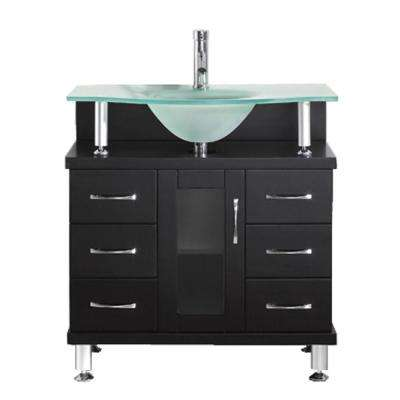 Vincente 32 in. W Bath Vanity in Espresso with Glass Vanity Top in Aqua with Round Basin