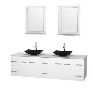 Wyndham Collection Centra 80 inch Double Vanity in White with Solid-Surface Vanity Top in White, Black Granite Sinks and... by Wyndham Collection
