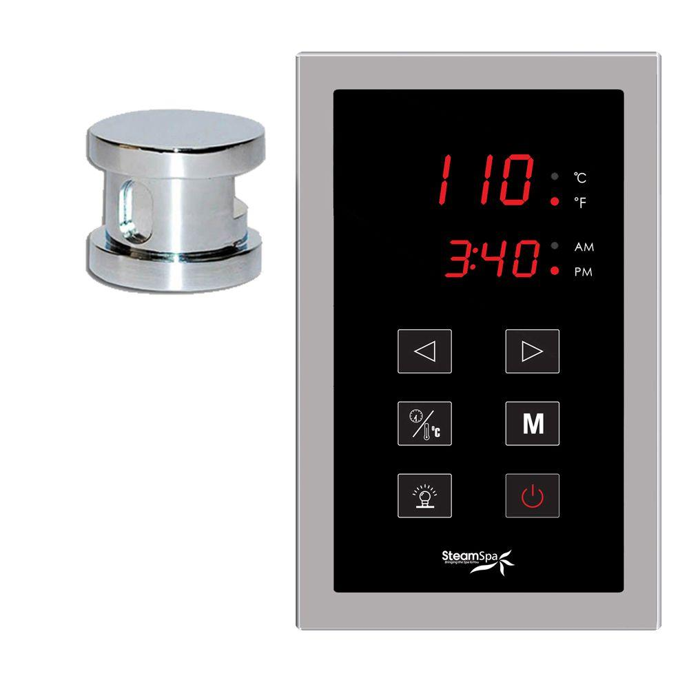 Oasis Programmable Steam Bath Generator Touch Pad Control Kit in Chrome