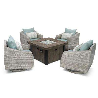Cannes 5-Piece Motion Wicker Patio Fire Pit Conversation Set with Spa Blue Sunbrella Cushions