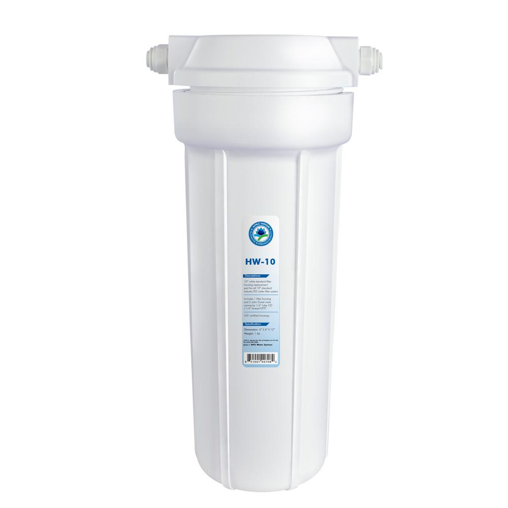 APEC Water Systems HW-10 10 White Standard Filter Housing with 1//4 John Guest Fittings HW-10-A