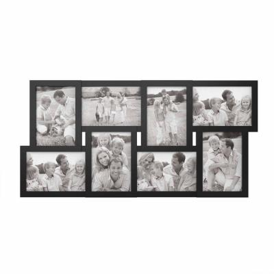 8-Opening 4 in. x 6 in. Black Picture Frame Collage
