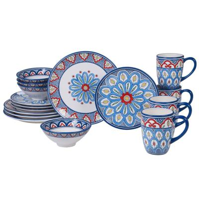 Tangier 16-Piece Multi-Colored Dinnerware Set
