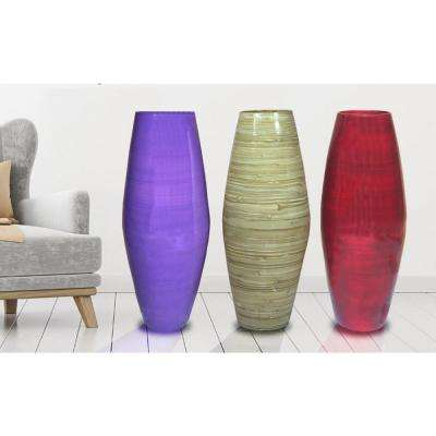 27.5 in. Multi Tall Bamboo Floor Decorative Vases