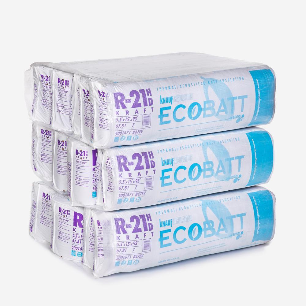 R-21 EcoBatt Kraft Faced Fiberglass Insulation Batt 15 in. x 93 in. (15-Bags)