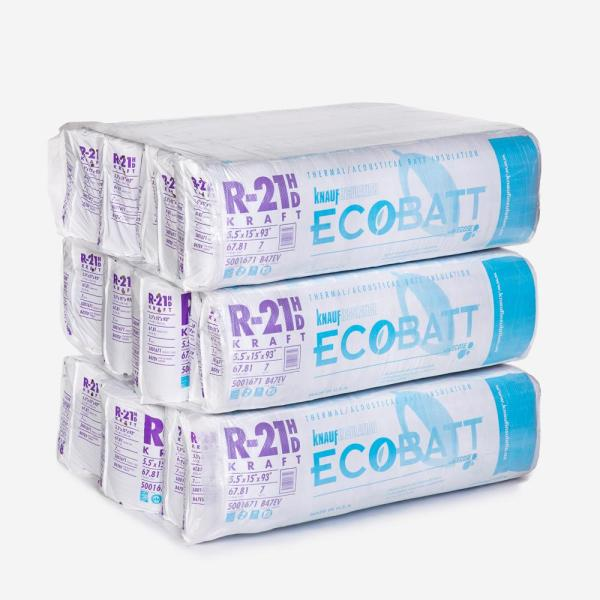 R-21 EcoBatt Kraft Faced Fiberglass Insulation Batt 15 in. x 93 in. (15-Bags)