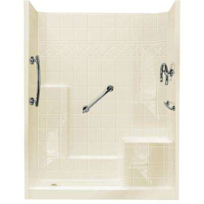 32 in. x 60 in. x 77 in. Freedom Low Threshold 3-Piece Shower Kit in Biscuit with Chrome Package, Right Seat, Left Drain