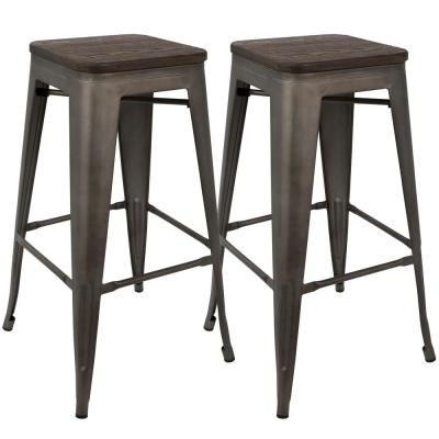 Oregon 30 in. Antique and Espresso Bar Stool (Set of 2)