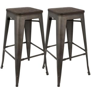 Oregon 30 in. Antique and Espresso Barstool (Set of 2)