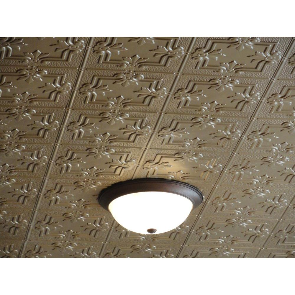 Global Specialty Products Global Specialty Products Dimensions Faux 2 ft. x 4 ft. Tin Style Ceiling and Wall Tiles in Brass