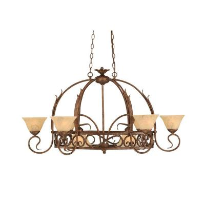 Concord Series 8-Light Bronze Chandelier with Italian Marble Glass Shade
