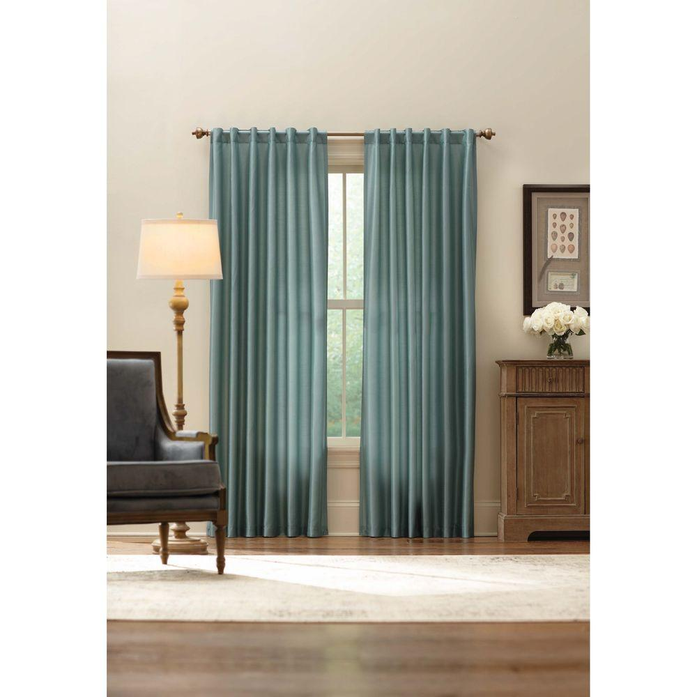 Home Decorators Collection Sheer Aqua Faux Silk Lined Back Tab Curtain - 52 in. W x 84 in. L