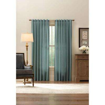 Sheer Aqua Faux Silk Lined Back Tab Curtain - 52 in. W x 84 in. L