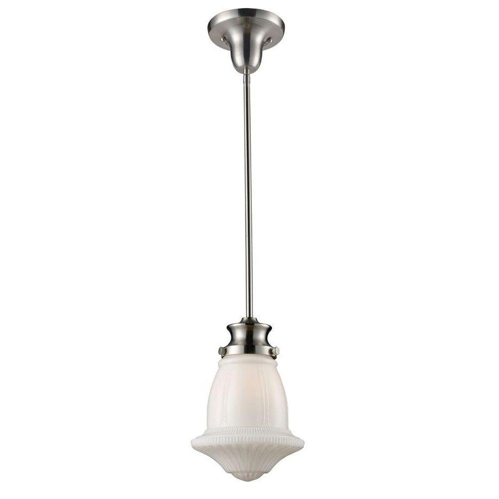 An Lighting Schoolhouse Pendants 1 Light Satin Nickel Ceiling Mount Pendant