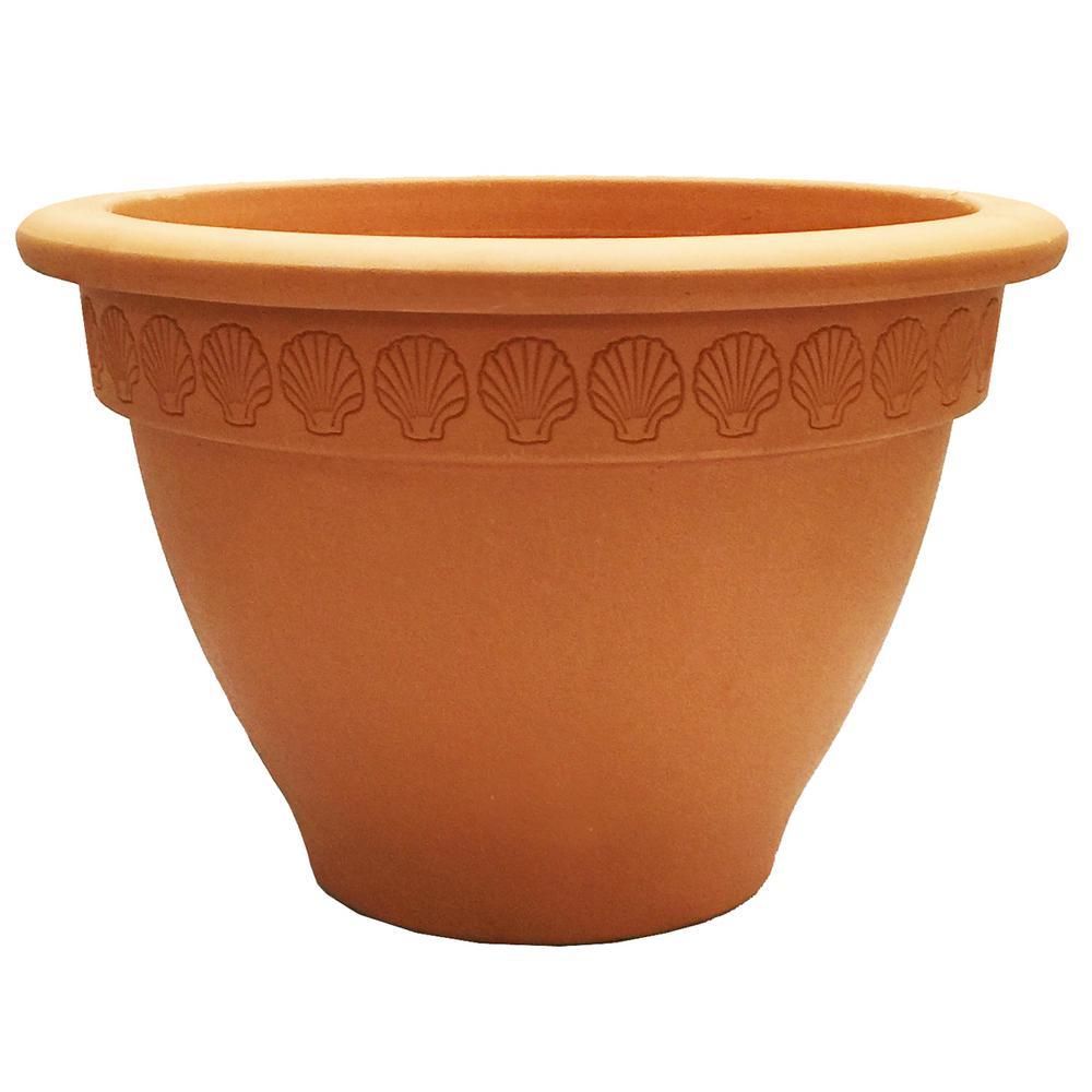 19 in. Terra Cotta Clay Scallop Bell Pot