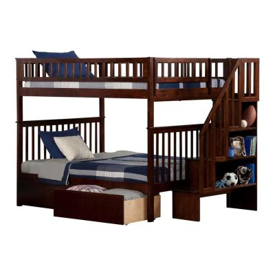 Woodland Walnut Full Over Full Staircase Bunk Bed with 2-Urban Bed Drawers