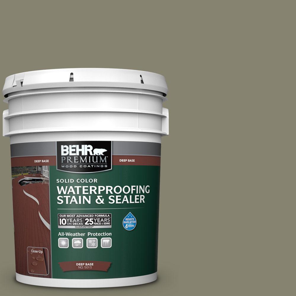 BEHR Premium 5 gal. #SC-144 Gray Seas Solid Waterproofing Exterior Wood Stain and Sealer