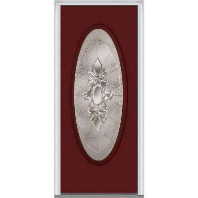 32 in. x 80 in. Heirloom Master Right-Hand Inswing Oval Lite Decorative Painted Fiberglass Smooth Prehung Front Door