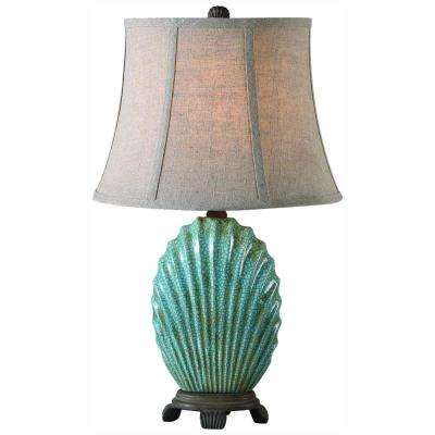 23 in. Crackled Blue Table Lamp