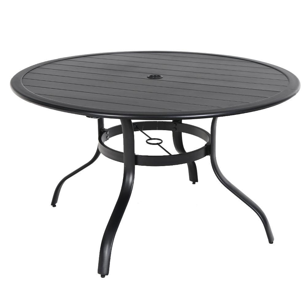 Commercial Aluminum 48 in. Round Outdoor Slat Top Dining Table in