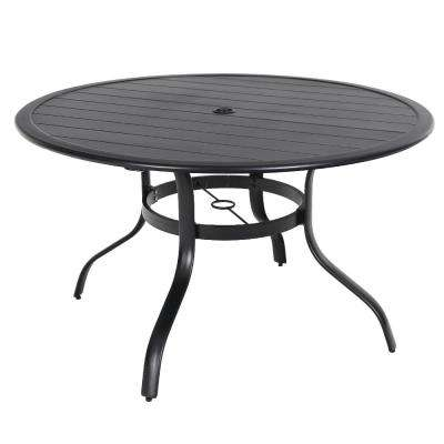 Commercial Aluminum 48 In Round Outdoor Slat Top Dining Table
