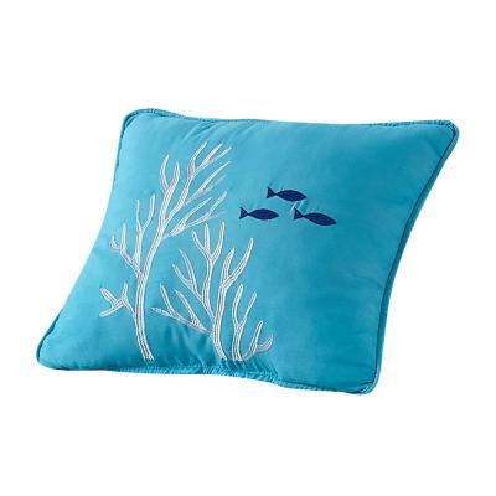 "Blue ""Coral Reef"" Coastal Microfiber 16 in. W x 12 in. L Decorative Throw Pillow"
