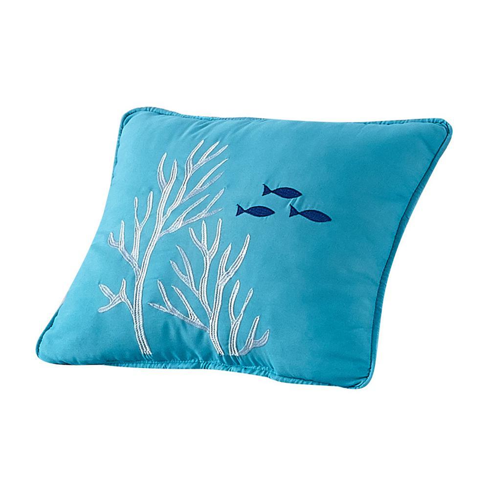 ''Coral Reef'' Coastal Microfiber 16 in. W x 12 in. L Decorative Throw Pillow