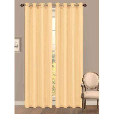 Semi-Opaque Primavera Crushed Microfiber 55 in. W x 84 in. L Grommet Extra Wide Curtain Panel in Gold