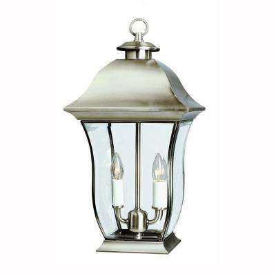 Wall Flower 2-Light Outdoor Brushed Nickel Post Lantern with Clear Glass
