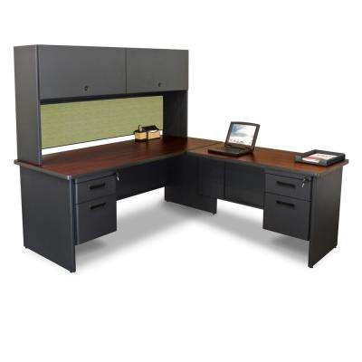 72 in. W x 78 in. D Black, Mahogany and Peridot Desk with Return and Pedestal