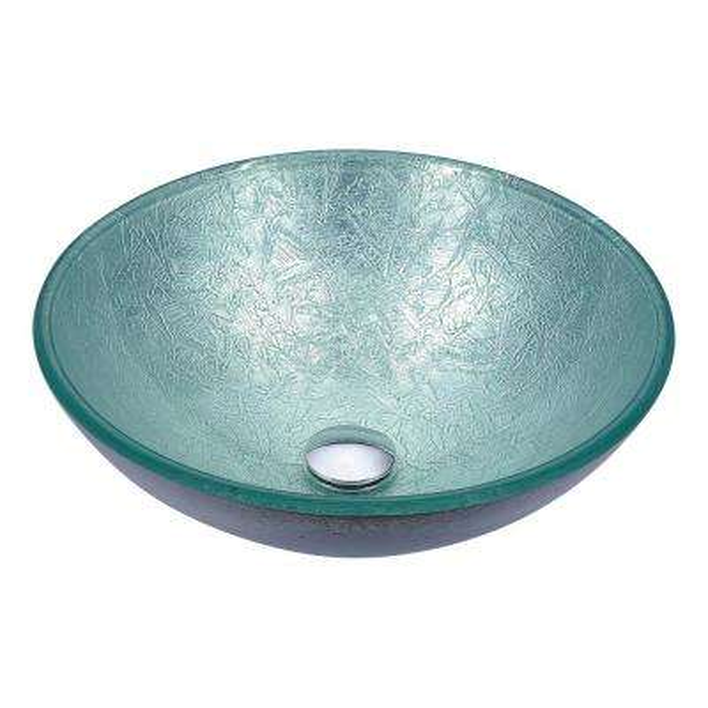 Posh Series Deco-Glass Vessel Sink in Glacial Silver
