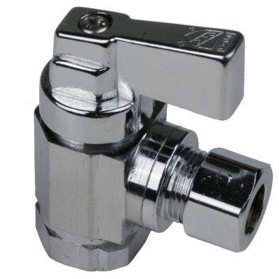 1/2 in. FIP X 3/8 in. O.D. Angle Chrome Supply Stop Quarter-Turn Valve