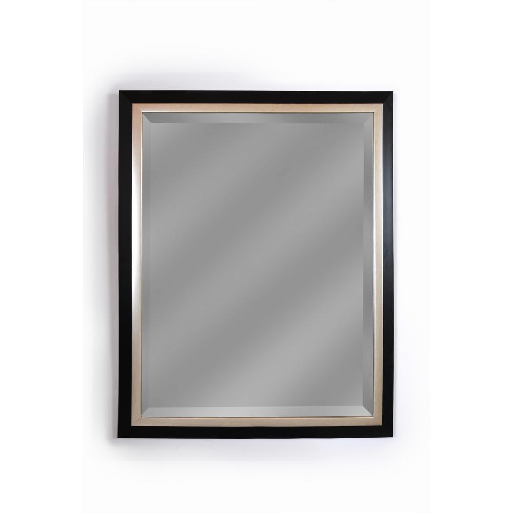 Executive Black Frame With Silver Trim Wall Mirror