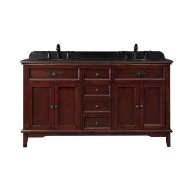 Doncaster 60 in. W Bath Vanity in Dark Cherry with Granite Vanity Top in Black with White Basins