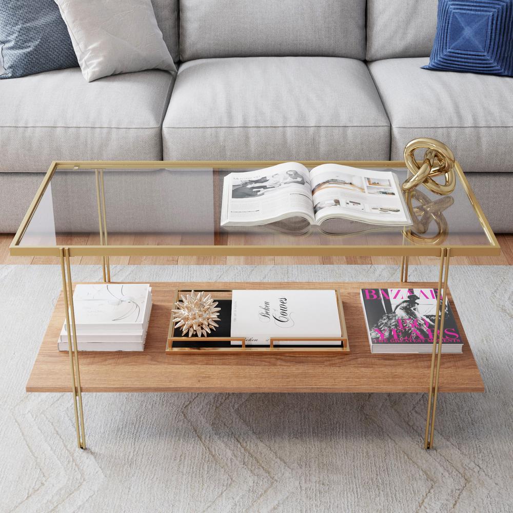 Asher Gold Metal Frame Glass Top Oak Shelf Coffee Table